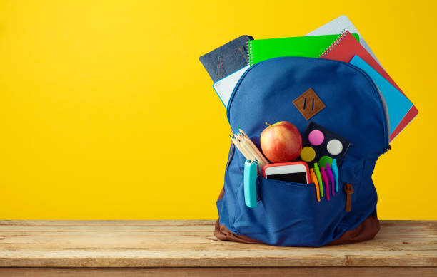 School bag backpack with notebooks - foto stock