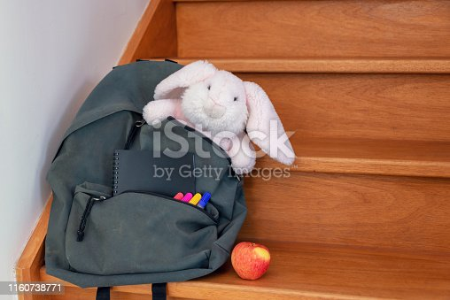 School bag with cuddly toy, supplies and lunch
