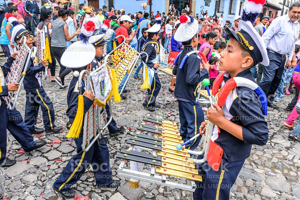 School band, Independence Day, Antigua, Guatemala stock photo