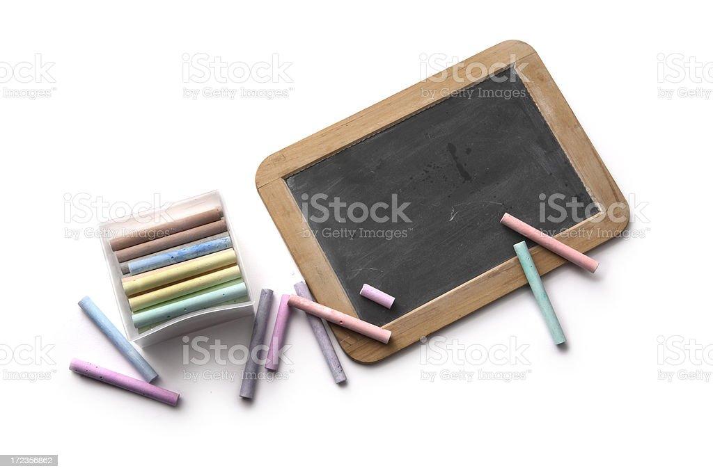 School: Blackboard and Chalks royalty-free stock photo