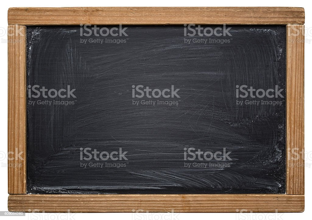 School blackboard isolated on white stock photo
