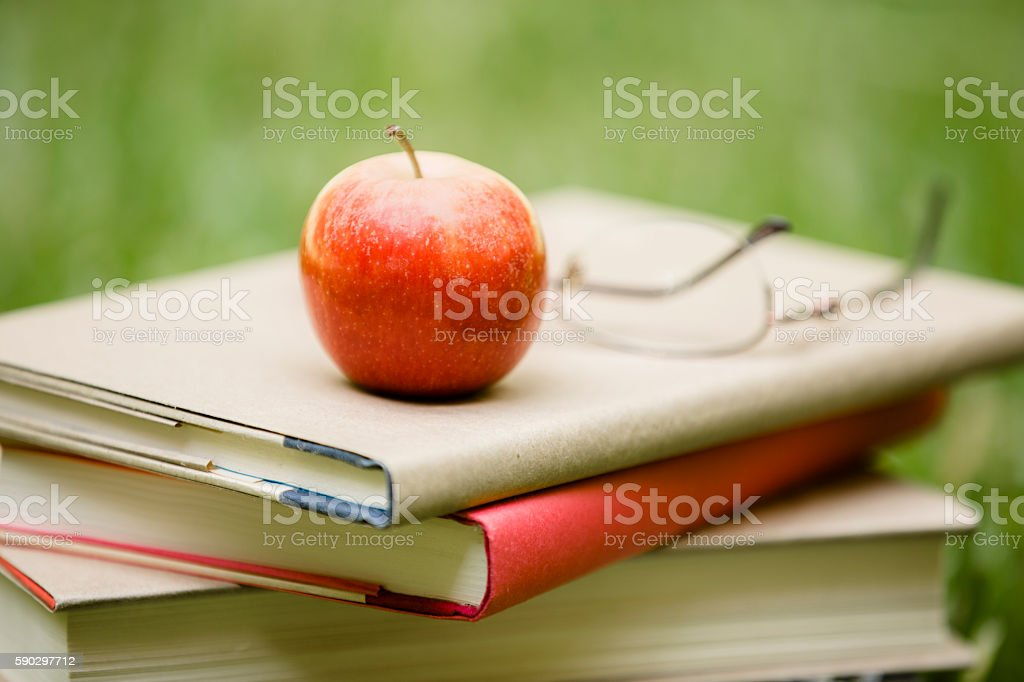 School book stack with apple in grass on campus. royaltyfri bildbanksbilder