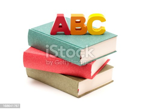 153178960istockphoto School Books and Alphabet isolated on white background 168641767