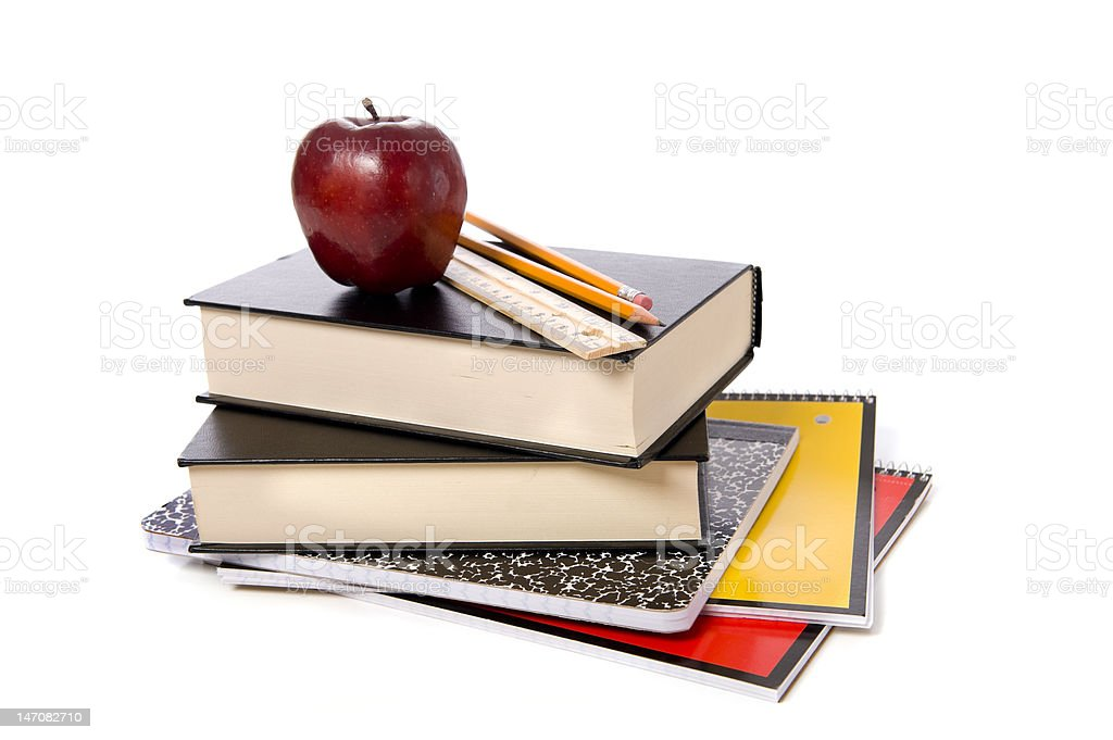 School Books with Apple stock photo