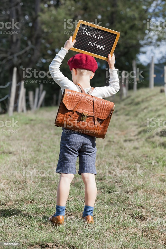School Boy and his Chalkboard - Back to School stock photo