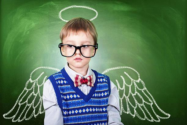school boy angel - engel zeichnen stock-fotos und bilder