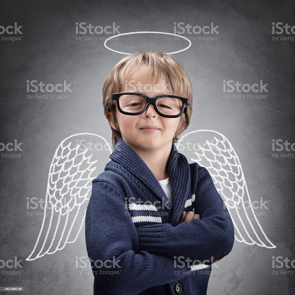 School boy angel with wings and halo stock photo