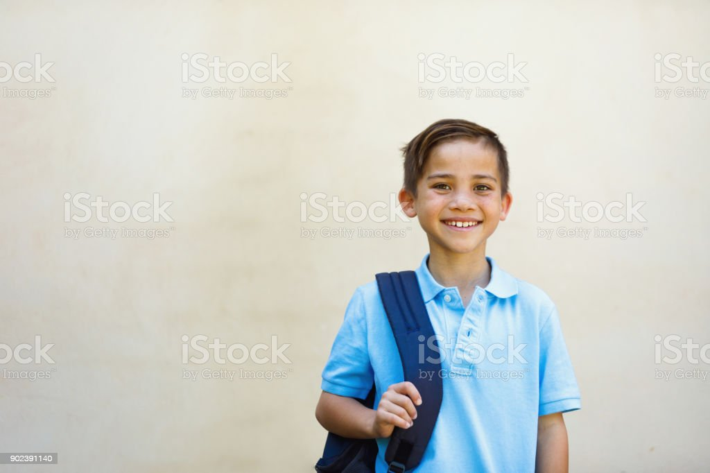 School Boy Young School Boy with backpack before going to school 10-11 Years Stock Photo