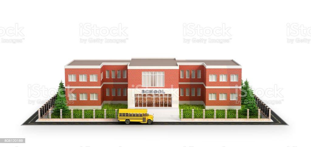 Pátio escola de ônibus, edifício e da frente do prédio da escola. Isolado no fundo branco. ilustração 3D - foto de acervo