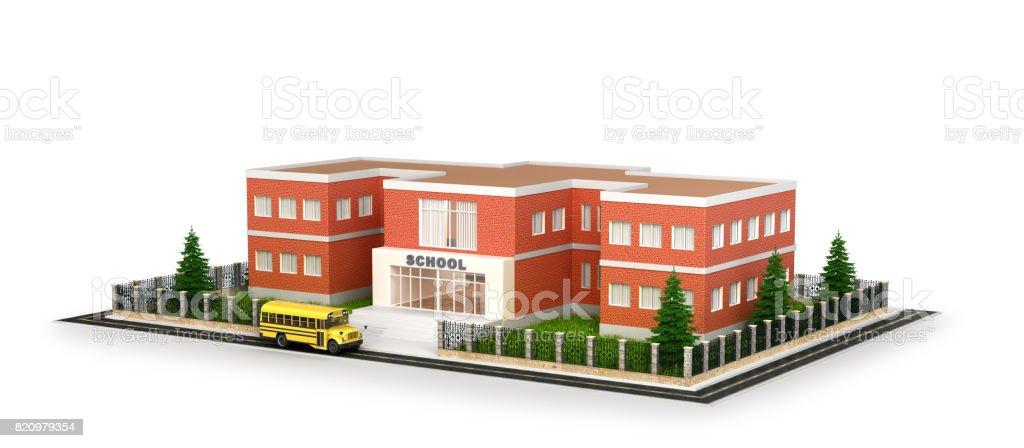 Pátio de ônibus, edifício e frente de escola - foto de acervo