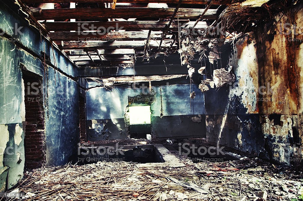 School Building Destroyed by Big Fire royalty-free stock photo
