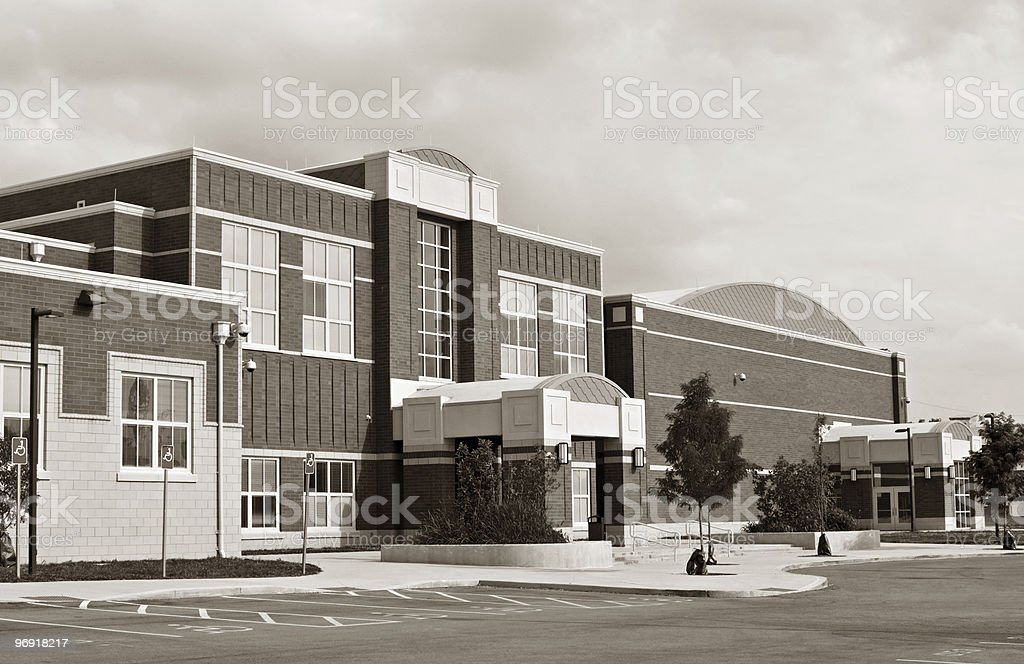 School Building in Sepia royalty-free stock photo