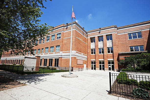 School Building in West Ridge, Chicago stock photo