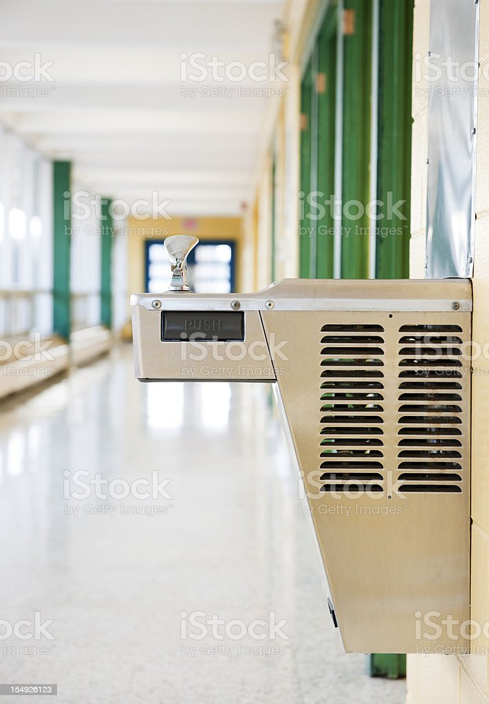 School Building Interior, Drinking Fountain stock photo