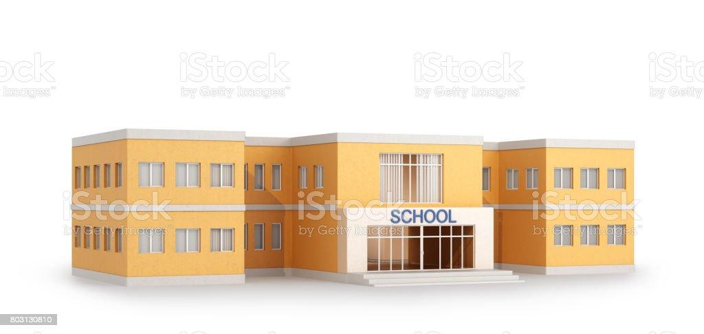 Edifício da escola, isolado no fundo branco. Ilustração 3D - foto de acervo