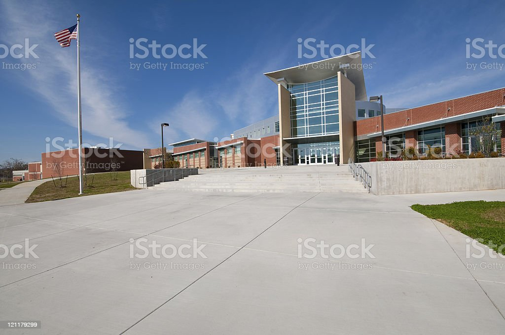 School Building or Business Building with American Flag stock photo