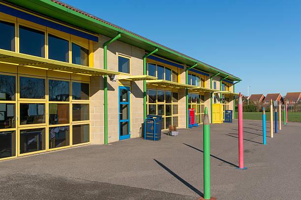 school building, uk infant/junior 5-11years - preschool building stock photos and pictures