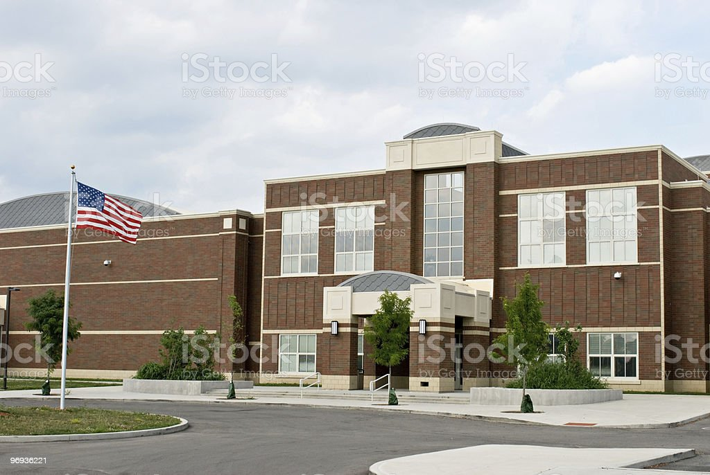 School Building with Flag stock photo