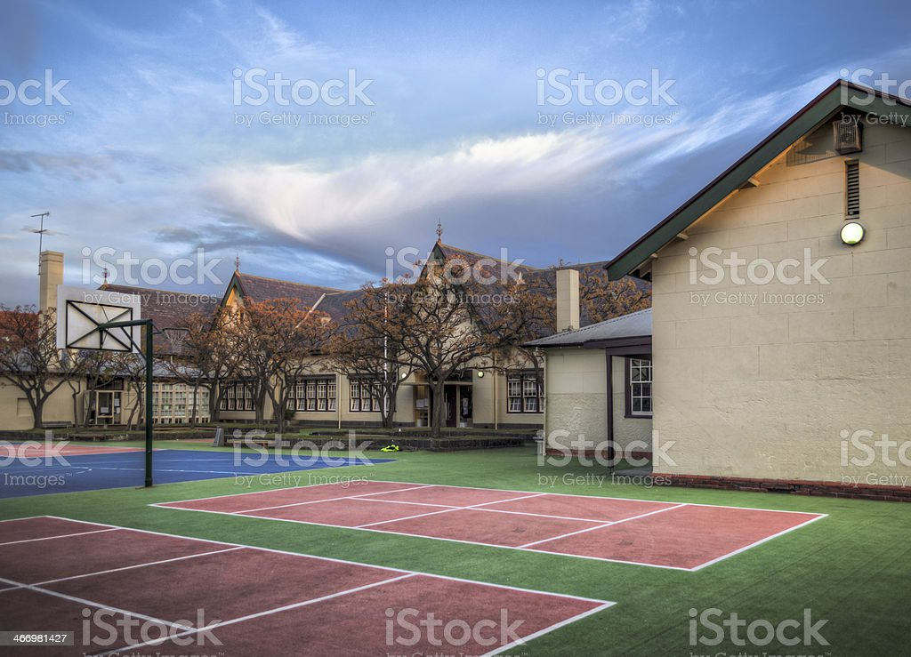 School Buildings and Sports Field stock photo