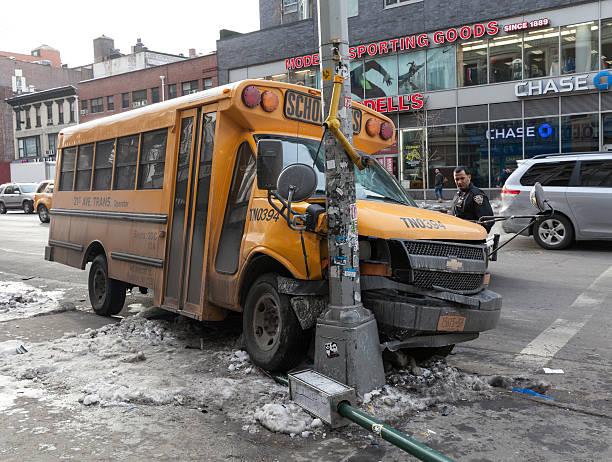 School bus accident stock photo