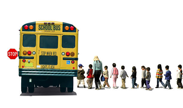 school bus and kindergartens - school buses stock pictures, royalty-free photos & images
