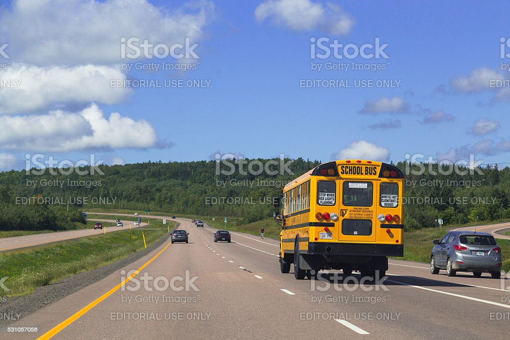 School Bus and Rural Roads in Canada stock photo