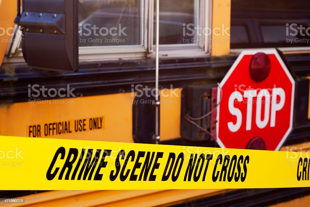 School Bus Crime Scene stock photo