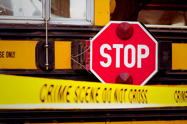 School Bus Crime Scene stock photo