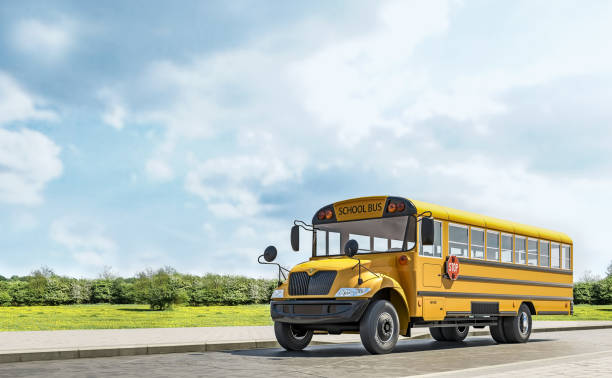 school bus driving on the country road, going to school, beautiful sunny day, 3d rendering - school buses stock pictures, royalty-free photos & images