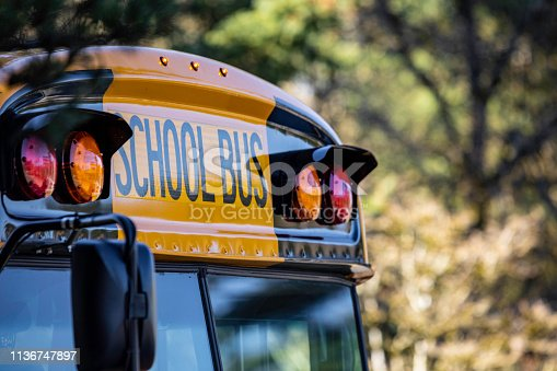 istock School Bus Front Detail Close Up 1136747897