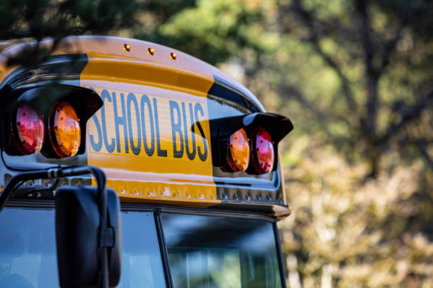 school bus front detail close up - school buses stock pictures, royalty-free photos & images