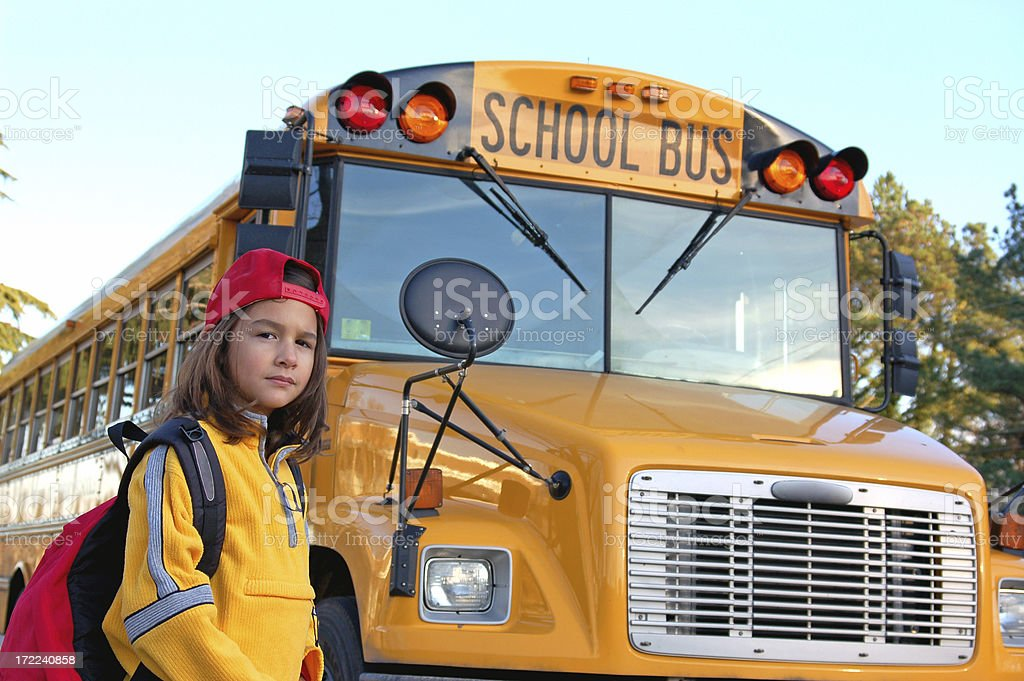 School Bus Girl royalty-free stock photo