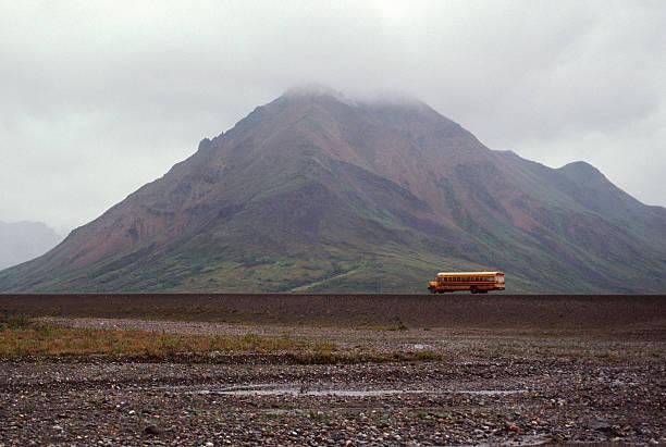 School bus in Alaska stock photo