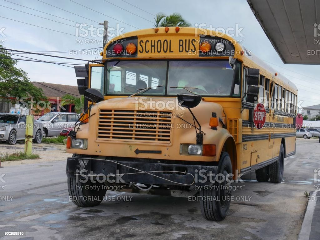 School Bus In Georgetown Exuma Cays Bahamas Stock Photo