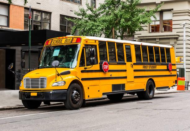 Okul otobüsü New York'ta. stok fotoğrafı