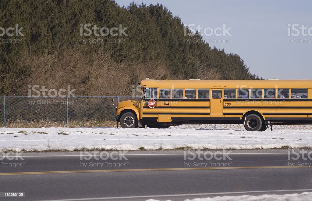 School Bus on a Country Road royalty-free stock photo