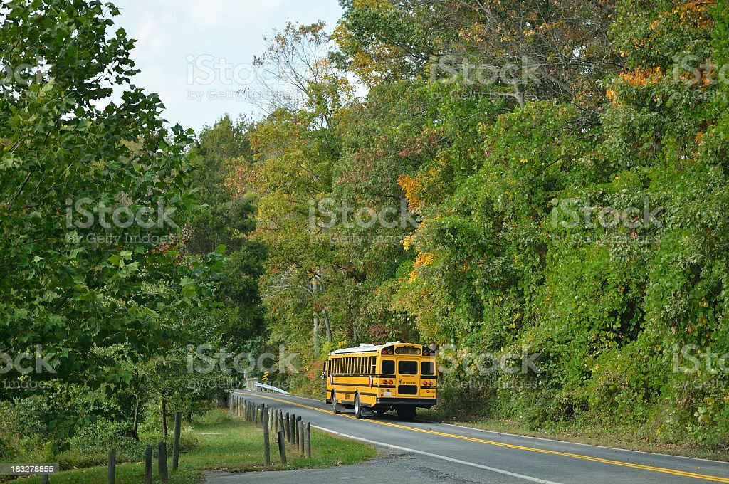 School Bus On Country Road royalty-free stock photo