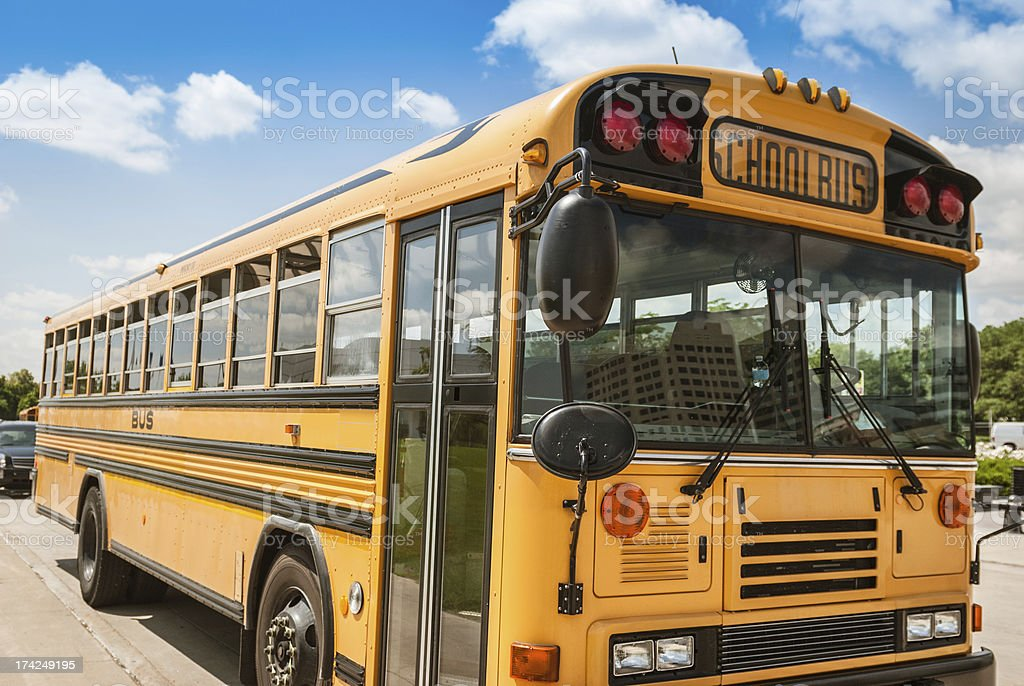 School bus on the city royalty-free stock photo