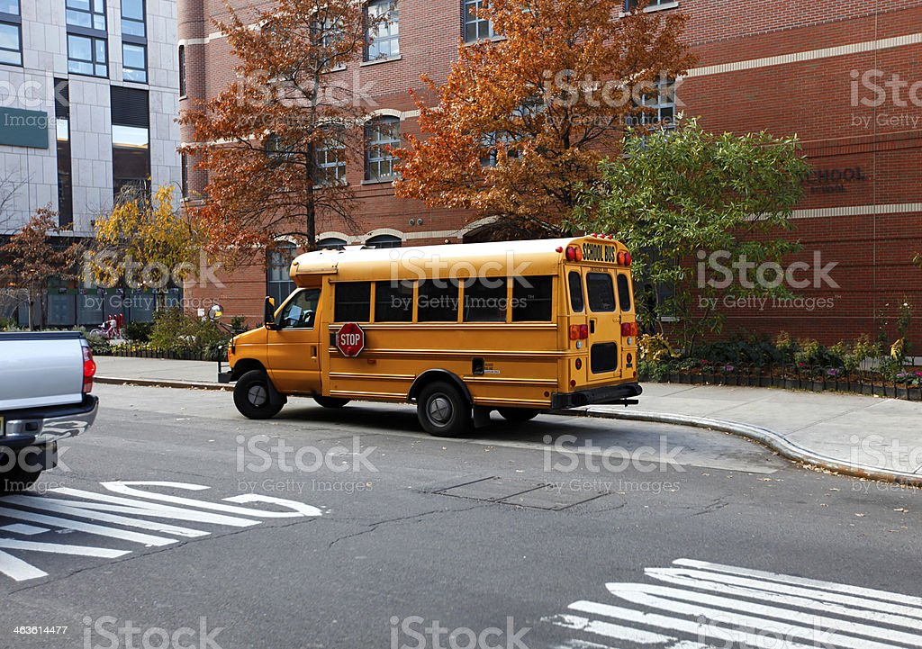 school bus on the road stock photo