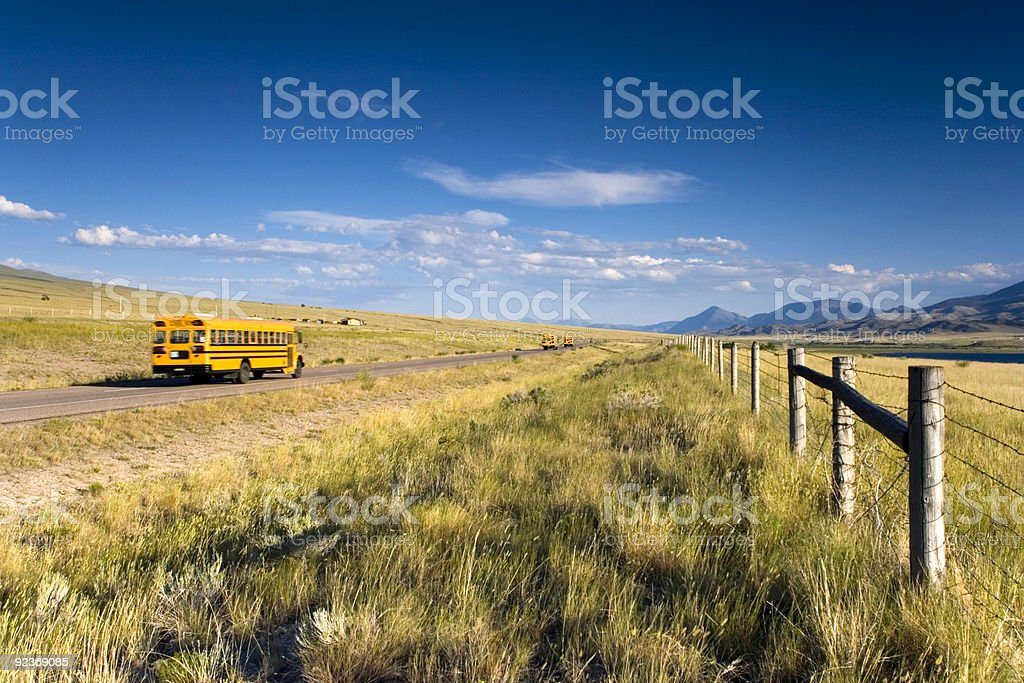 School bus on the road royalty-free stock photo