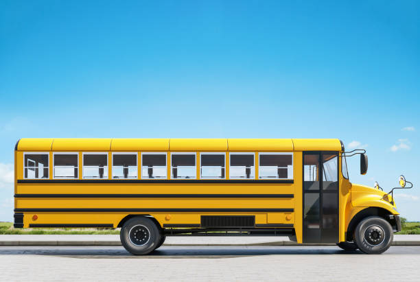 school bus parked on the road, concept of going back to school, beautiful sunny day, 3d rendering - school buses stock pictures, royalty-free photos & images