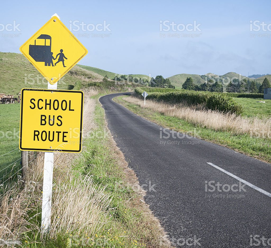 School Bus Route and The Road Ahead stock photo