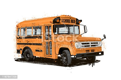 School Bus, Illustration, Bus, Childhood