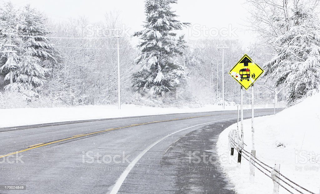 School Bus Stop Ahead Road Sign royalty-free stock photo