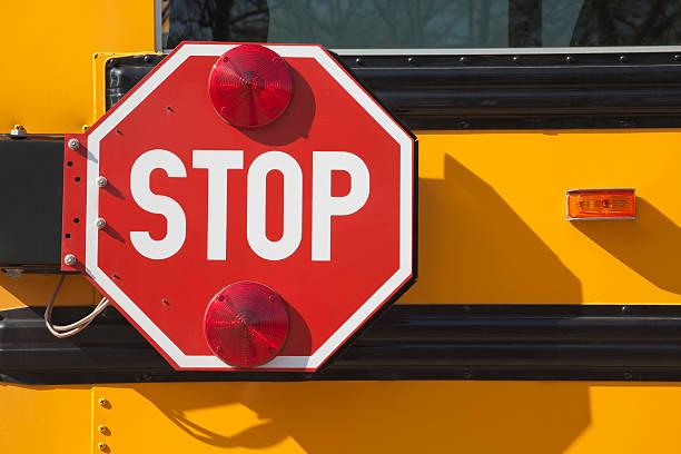 School Bus Stop Sign stock photo