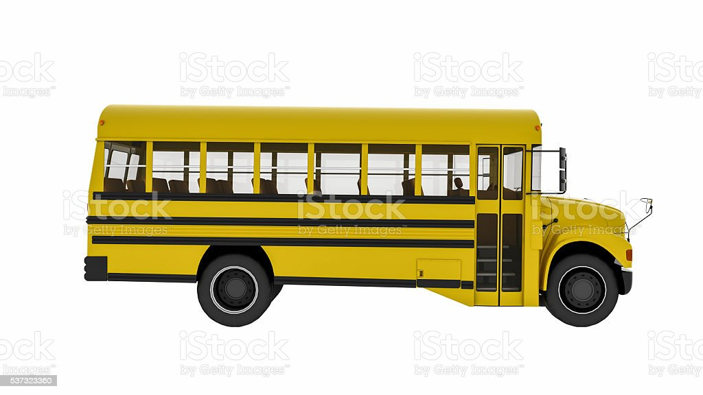 School bus, transportation vehicle isolated on white background stock photo