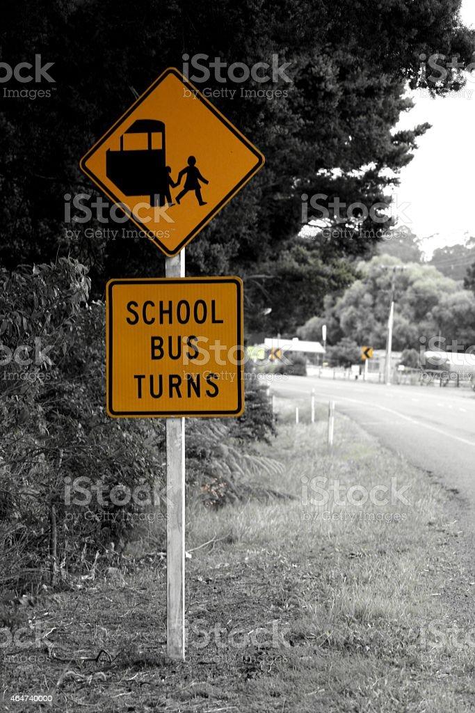 School Bus Turns stock photo