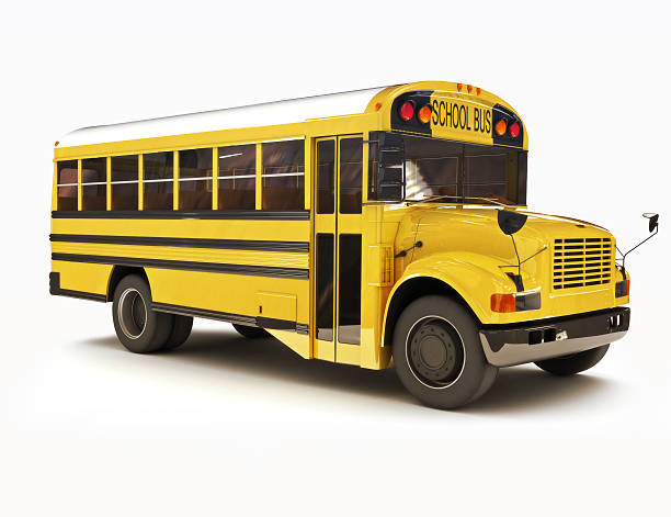 school bus with white top isolated on a white background - school buses stock pictures, royalty-free photos & images