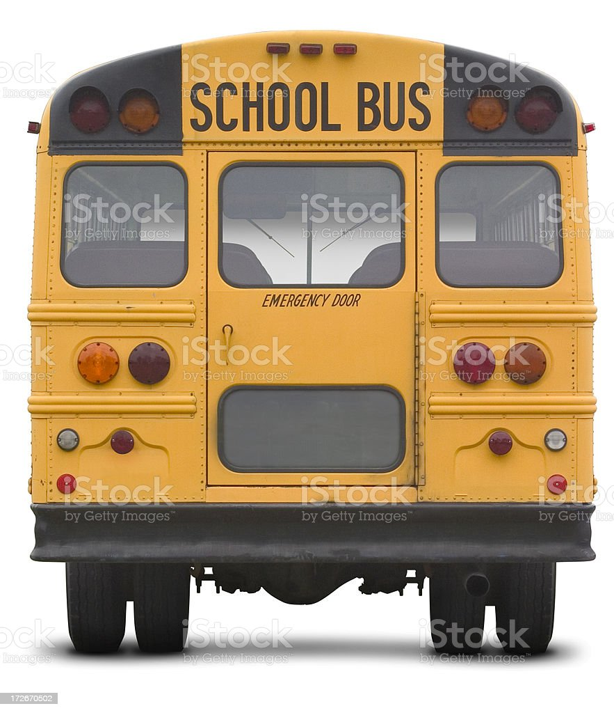 school bus with work path stock photo