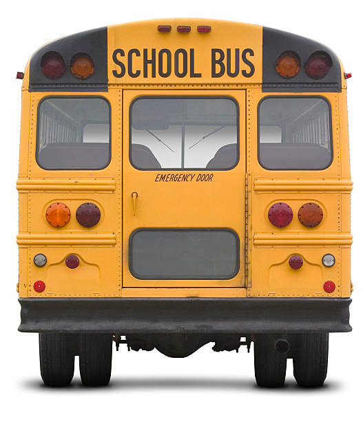 school bus with work path - school buses stock pictures, royalty-free photos & images